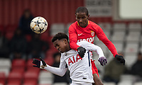 Ibrahima Diallo of AS Monaco FC Youth & Edmond-Paris Maghoma of Spurs U19 during the UEFA Youth League round of 16 match between Tottenham Hotspur U19 and Monaco at Lamex Stadium, Stevenage, England on 21 February 2018. Photo by Andy Rowland.