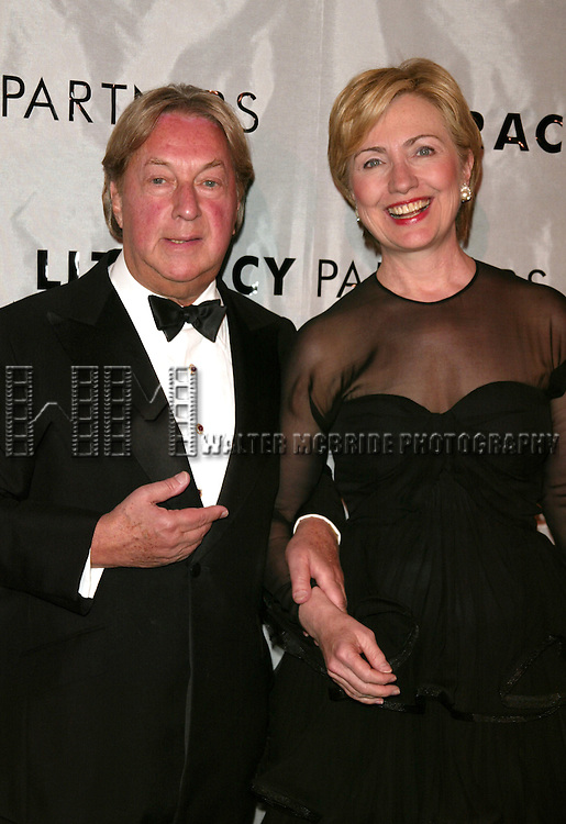 Arnold Scaasi and Hillary Rodham Clinton, Wearing a Scaasi Design,   attending  the Literacy Partners 20th  Annual Gala, AN EVENING OF READINGS at Lincoln Center, Honoring Tom Brokaw, Tim Russert and Jack Welch on May 3, 2004 at Lincoln Center in New York City.