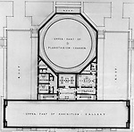 Pittsburgh PA:  View of a drawing created by Ingram & Boyd Architects of the new Buhl Planetarium.  This view is a close-up of the proposed 2nd floor layout of the planetarium. The project was completed in 1939.  The Buhl Planetarium was built with monies from the Buhl Foundation; a foundation created by the wealthy North Side clothier Henry Buhl of Boggs and Buhl department store fame.  Brady Stewart was selected for the job due to his specialized equipment; an 8x10 Dierdorff camera, and his expertise in lighting and photographing large renderings and drawings.