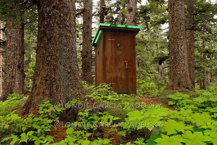 Outhouse in Sitka Spruce forest, Shuyak Island. .Shuyak Island State Park,  Alaska
