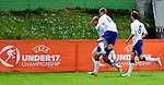 England player Hallam Hope, left, celebrate his first goal with teammates Alex Henshall and  Nicholas Powell, during UEFA U-17 championship group A, France against England, Indjija, Serbia, 03.05.2011. (Photo Aleksandar Dimitrijevic/Starsportphoto.com)