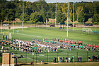 September 29, 2017; The Notre Dame Marching Band practices on Ricci field. (Photo by Matt Cashore/University of Notre Dame)