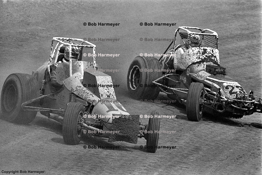 1976 USAC sprint car racing at Eldora Speedway near Rossburg, Ohio.
