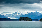 USA, Alaska, Juneau, views of snowcapped mountains while whale watching and exploring in Stephens Passage