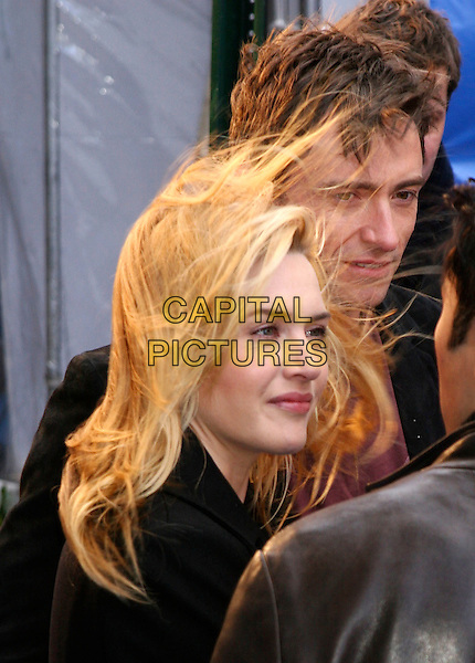 "HUGH JACKMAN & KATE WINSLET.Arrivals at the ""Flushed Away"" Premiere, held at the AMC Lincoln Square, New York, NY, USA, 29 October 2006..portrait headshot hair blowing in wind messy windy funny.Ref: IW.www.capitalpictures.com.sales@capitalpictures.com.©Ian Wilson/Capital Pictures"