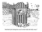 'And that's for letting the social worker take the baby away!' (a Punch and Judy show at the seaside)