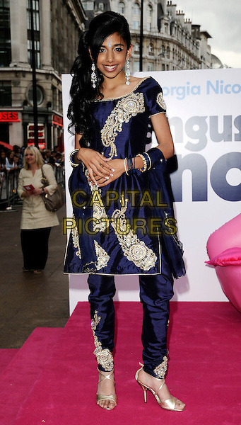 "MANJEEVEN GREWAL & GEORGIA HENSHAW  .The UK Film Premiere of ""Angus, Thongs and Perfect Snogging"", Empire cinema, Leicester Square, London, England..July 16th 2008.full length indian style dress tunic top trousers costume beaded embroidered bindi long dangly earrings purple silver shoes sandals bracelets .CAP/CAN.©Can Nguyen/Capital Pictures."