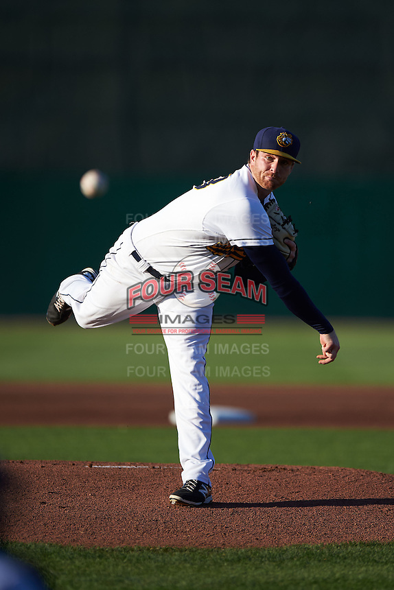 Burlington Bees pitcher Michael Bolaski (23) delivers a pitch during a game against the Clinton LumberKings on August 20, 2015 at Community Field in Burlington, Iowa.  Burlington defeated Clinton 3-2.  (Mike Janes/Four Seam Images)