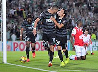 BOGOTA -COLOMBIA, 5- OCTUBRE-2014. Luis Paez del  Atletico Nacional celebra su gol contra el Independiente Santa Fe durante partido   de La Liga Postob—n treceava fecha 2014-2. Estadio  Nemesio Camacho El Campin   / Luis Paez of Atletico Nacional celebrates   his goal against of Independiente Santa Fe during La Liga match Postob—n  13th 2014-2.  Nemesio Camacho El Campin stadium . Photo: VizzorImage / Alfredo Gutierrez / Contribuidor