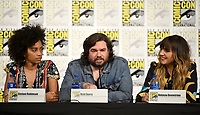 FX FEARLESS FORUM AT SAN DIEGO COMIC-CON© 2019: L-R: Writer/Co-Executive Producer Stefani Robinson and Cast Members Matt Berry and Natasia Demetriou during the WHAT WE DO IN THE SHADOWS panel on Saturday, July 20 at SAN DIEGO COMIC-CON© 2019. CR: Frank Micelotta/FX/PictureGroup © 2019 FX Networks