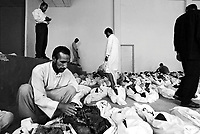 Moussayib, Iraq, May 24, 2003.More than 400 bodies from people missing since their arrest by Hussein Kamal, Saddam's son-in-law and his men, in March 1991 were found in mass-graves in Djur Al Saher and have been brought to a theater hall in Moussayib to allow identification by the families. .