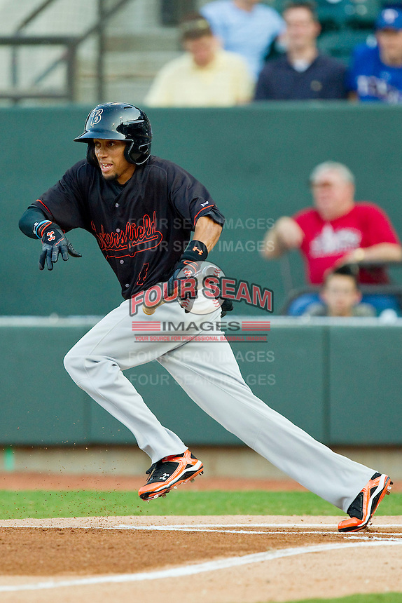 California League All-Star Billy Hamilton #4 of the Bakersfield Blaze drops down a bunt against the Carolina League All-Stars during the 2012 California-Carolina League All-Star Game at BB&T Ballpark on June 19, 2012 in Winston-Salem, North Carolina.  The Carolina League defeated the California League 9-1.  (Brian Westerholt/Four Seam Images)