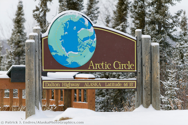 Arctic Circle sign at the rest stop and campground along the Dalton highway, Alaska