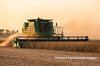 63801-07907 Soybean Harvest at sunset Marion Co. IL