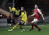 Oxford United's Jordan Graham under pressure from Fleetwood Town's Lewis Coyle<br /> <br /> Photographer Rich Linley/CameraSport<br /> <br /> The EFL Sky Bet League One - Fleetwood Town v Oxford United - Saturday 12th January 2019 - Highbury Stadium - Fleetwood<br /> <br /> World Copyright &copy; 2019 CameraSport. All rights reserved. 43 Linden Ave. Countesthorpe. Leicester. England. LE8 5PG - Tel: +44 (0) 116 277 4147 - admin@camerasport.com - www.camerasport.com