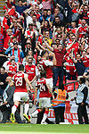 Sead Kolasinac of Arsenal celebrates scoring the equalising goal during the The FA Community Shield match at Wembley Stadium, London. Picture date 6th August 2017. Picture credit should read: Charlie Forgham-Bailey/Sportimage