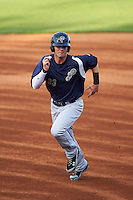 Pensacola Blue Wahoos outfielder Jesse Winker (23) running the bases during a game against the Mississippi Braves on May 28, 2015 at Trustmark Park in Pearl, Mississippi.  Mississippi  defeated Pensacola 4-2.  (Mike Janes/Four Seam Images)