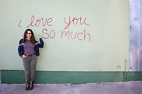 """I love you so much"" is an iconic mural painted on the south side at Jo's Coffee on South Congress Avenue - Stock Image."