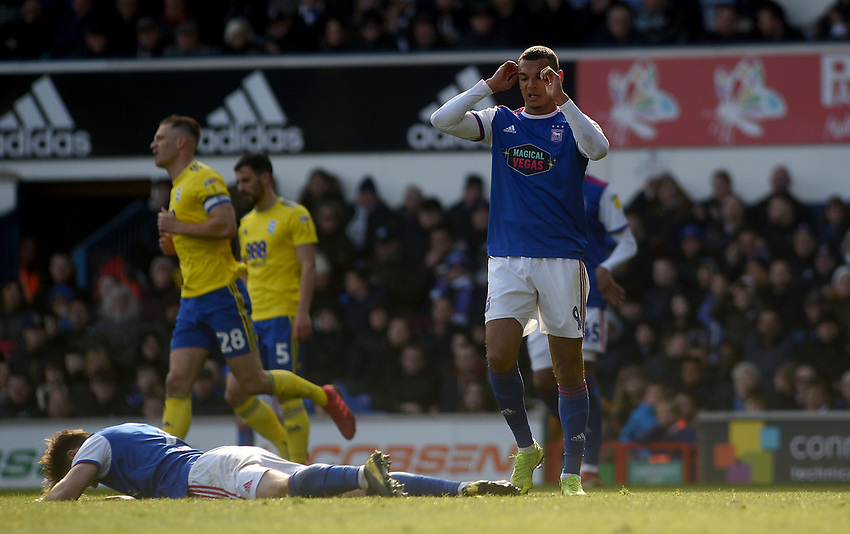 Ipswich Town's Gwion Edwards and Kayden Jackson disappointed at missing a chance at goal<br /> <br /> Photographer Hannah Fountain/CameraSport<br /> <br /> The EFL Sky Bet Championship - Ipswich Town v Birmingham City - Saturday 13th April 2019 - Portman Road - Ipswich<br /> <br /> World Copyright © 2019 CameraSport. All rights reserved. 43 Linden Ave. Countesthorpe. Leicester. England. LE8 5PG - Tel: +44 (0) 116 277 4147 - admin@camerasport.com - www.camerasport.com