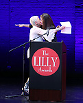 Eve Ensler and Diane Paulus on stage during the 9th Annual LILLY Awards at the Minetta Lane Theatre on May 21,2018 in New York City.