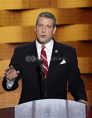United States Representative Tim Ryan (Democrat of Ohio) makes remarks during the fourth session of the 2016 Democratic National Convention at the Wells Fargo Center in Philadelphia, Pennsylvania on Thursday, July 28, 2016.<br /> Credit: Ron Sachs / CNP/MediaPunch<br /> (RESTRICTION: NO New York or New Jersey Newspapers or newspapers within a 75 mile radius of New York City)