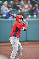David Clawson (24) of the Orem Owlz on deck against the Ogden Raptors at Lindquist Field on June 20, 2019 in Ogden, Utah. The Owlz defeated the Raptors 11-8. (Stephen Smith/Four Seam Images)