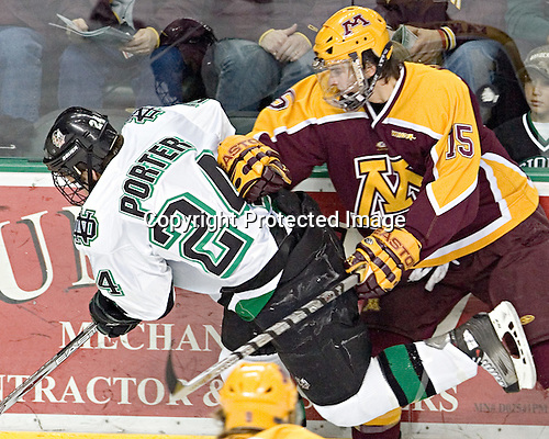 Chris Porter, Mike Vannelli - The University of Minnesota Golden Gophers defeated the University of North Dakota Fighting Sioux 4-3 on Friday, December 9, 2005, at Ralph Engelstad Arena in Grand Forks, North Dakota.