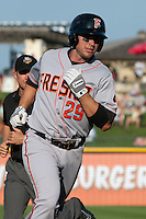 Fresno Grizzlies first baseman Todd Linden #29 trots around the bases after homering during the Pacific Coast League baseball game against the Round Rock Express on May 19, 2012 at The Dell Diamond in Round Rock, Texas. The Grizzlies defeated the Express 10-4. (Andrew Woolley/Four Seam Images)