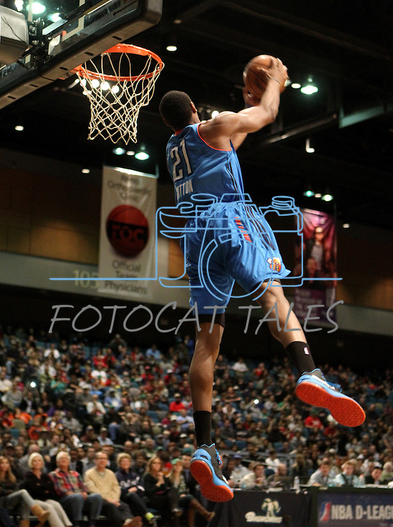 Dominique Sutton, of the Tulsa 66ers, competes in the slam-dunk competition in the NBA D-League Showcase at the Reno Events Center, in Reno, Nev., on Wednesday Jan. 9, 2013. Sutton won the event..Photo by Cathleen Allison