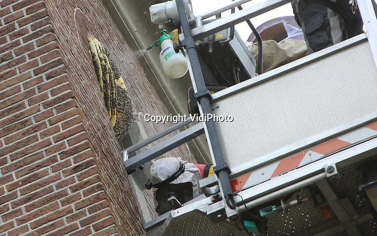 Foto: VidiPhoto<br /> <br /> OCHTEN - Natuurwonder aan kerktoren. De bijenimkers Henk Zomerdijk en Henry Bos hebben maandagavond in Ochten een bijenvolk uit de toren van de Hervormde kerk in Ochtend gehaald. Omdat de zwerm zich op 18 meter hoogte bevond, werd daarbij de brandweer van Tiel met een ladderwagen ingeschakeld. Zomerdijk, voorheen burgemeester van Ochten (gemeente Echteld) en nu imker, noemt de zwerm aan de buitenzijde van de kerktoren &quot;een natuurwonder&quot;. Het weghalen van de bijen is tevens de redding van het volk, omdat ze op die plek de winter niet kunnen overleven. Volgens de oud-burgemeester bevat de zwerm zo'n 20.000 bijen. De reddingsoperatie gebeurde 's avonds omdat bijen overdag te actief zijn om te vangen.