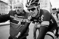 race winner Ian Stannard (GBR/Sky) escorted to the ceremonial area<br /> <br /> Omloop Het Nieuwsblad 2015