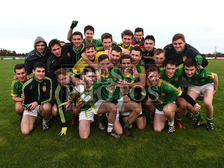 Curraha celebrate after beating Wolfe Tones in the Under 21 Football Championship final. Photo: Colin Bell/pressphotos.ie