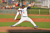 Abdiel Velasquez (40) of the Ogden Raptors delivers a pitch to the plate against the Idaho Falls Chukars in Pioneer League action at Lindquist Field on July 26, 2014 in Ogden, Utah.  (Stephen Smith/Four Seam Images)