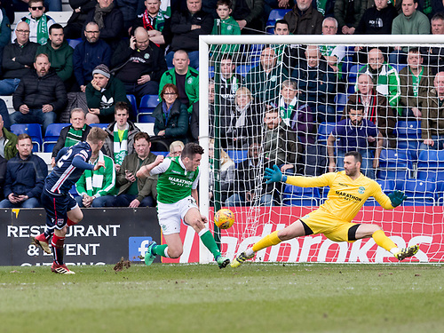 7th April 2018, Global Energy Stadium, Dingwall, Scotland; Scottish Premier League football, Ross County versus Hibernian; Billy McKay of Ross County  scores the opening goal in the 28th minute