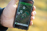 A farmers phone app showing the location of his tractors <br /> &copy;Tim Scrivener Photographer 07850 303986<br />      ....Covering Agriculture In The UK....