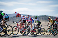 With strong crosswinds, the peleton fractures into many (9 through the feedzone) pockets of riders and makes for fierce racing form start to finish at a (very) high average speed (50.63 km/h).<br /> Peter Stetina (USA/Trek-Segafredo) is getting rid of his feedbag.<br /> <br /> Stage 17: Aranda de Duero to Guadalajara (220km)<br /> La Vuelta 2019<br /> <br /> ©kramon