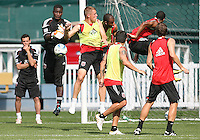 Bill Hamid pushes the ball away from Danny Allsopp of DC United at a practice session for DC United and AC Milan at RFK Stadium in Washington DC on may 25 2010.