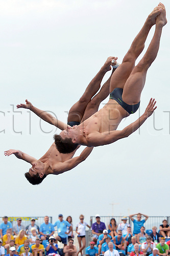 23.07.2013 Barcelona, Spain.  Patrick Hausding (front) and Stephan Feck of Germany in action during the men's 3m Synchro Springboard diving final of the 15th FINA Swimming World Championships at Montjuic Municipal Pool in Barcelona, Spain, 23 July 2013.