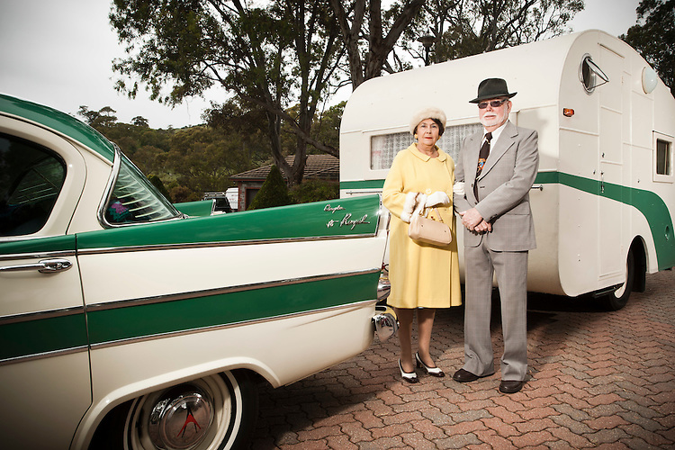 Noel and Raylene Cowie with their vintage Caravan.