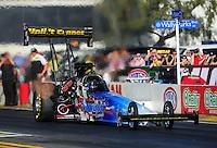 Feb. 9, 2012; Pomona, CA, USA; NHRA top fuel dragster driver Cory McClenathan during qualifying at the Winternationals at Auto Club Raceway at Pomona. Mandatory Credit: Mark J. Rebilas-