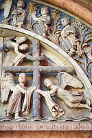 West portal lunette relief sculptures depicting the Cross on the other on the Romanesque Baptistery of Parma, circa 1196, (Battistero di Parma), Italy