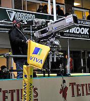 Aviva Premiership. Northampton, England. TV cameras at  the Aviva Premiership match between Northampton Saints and London Wasps at Franklin's Gardens on September 28. 2012 in Northampton, England.