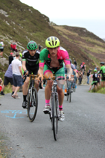 The peloton on the first Cat 1 climb Mamore Gap during Stage 4 of the 2017 An Post Ras running 151.8km from Bundoran to Buncrana, Ireland. 24th May 2017.<br /> Picture: Andy Brady | Cyclefile<br /> <br /> <br /> All photos usage must carry mandatory copyright credit (&copy; Cyclefile | Andy Brady)