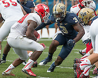 Pitt linebacker Nicholas Grigsby (3) closes in on Youngstown State running back Martin Ruiz. The Pitt Panthers football team defeated the Youngstown State Penguins 45-37 on Saturday, September 5, 2015 at Heinz Field, Pittsburgh, Pennsylvania.