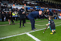 Steve Cooper Head Coach of Swansea City speaks to a mascot during the Sky Bet Championship match between Swansea City and Derby County at the Liberty Stadium in Swansea, Wales, UK. Saturday 08 February 2020