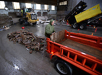 Ryan Chyrchel, a landscape designer with Down to Earth Landscaping, unloads debris Saturday, March 14, 2020, from a trailer during the first of four planned Spring Bulky Waste Cleanups at the city of Fayetteville's Solid Waste Division. The next cleanup is scheduled for 7 a.m. to 2 p.m. March 21 at the city's recycling and trash facility on Happy Hollow Road and at St. James Baptist Church on North Street in Fayetteville. Visit nwaonline.com/200315Daily/ for today's photo gallery.<br /> (NWA Democrat-Gazette/Andy Shupe)