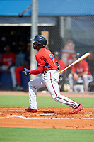 GCL Twins designated hitter Akil Baddoo (2) flies out during the first game of a doubleheader against the GCL Rays on July 18, 2017 at Charlotte Sports Park in Port Charlotte, Florida.  GCL Twins defeated the GCL Rays 11-5 in a continuation of a game that was suspended on July 17th at CenturyLink Sports Complex in Fort Myers, Florida due to inclement weather.  (Mike Janes/Four Seam Images)