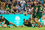 2nd December 2017, Brisbane, Australia;  Jermaine McGillvary of England makes a break during the Rugby League World Cup Mens Final match between Australia and England at Brisbane Stadium, Brisbane, Australia