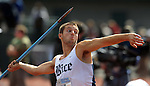 11 JUNE 2010: Philip Adam of Rice throws the javelin in the Mens Decathlon competition during the Division I Men's and Women's Track and Field Championship held at Hayward Field on the University of Oregon campus in Eugene, OR. Steve Dykes/NCAA Photos