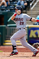 Adam Heether (28) of the Arkansas Travelers follows through his swing during a game against the Springfield Cardinals at Hammons Field on May 8, 2012 in Springfield, Missouri. (David Welker/ Four Seam Images)